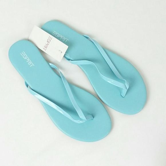 16f7ac663841 NWT ESPRIT Baby Blue Party-E2 Flip Flops Size 8